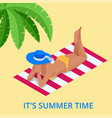 beach summer vacation woman relaxing sunbathing vector image vector image