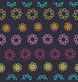 beautiful colorful geometric flowers on a dark vector image vector image