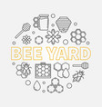 bee yard round in line style vector image vector image