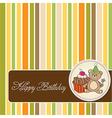 birthday greeting card with girl and big cupcake vector image vector image