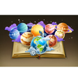 Book with planets background vector image vector image