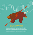 Bull and bear symbol of stock market with candle vector image