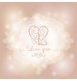 Calligraphic heart on magical lights background vector image vector image
