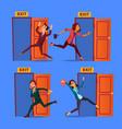 character evacuation to open door exit set vector image vector image