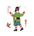 christmas elf girl in uniform female cartoon vector image vector image