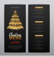 christmas menu design with golden christmas tree vector image