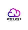 cloud tech logo design in line art style cloud vector image