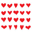 collection of red hearts for your design vector image vector image