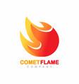 comet flame fire shape logo symbol vector image vector image