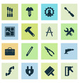 construction icons set with working dividers vector image