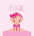 cute little girl with diadem baby shower card vector image