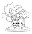 cute rabbits couple with balloons helium vector image vector image