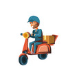 delivery worker in motorcycle vector image