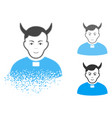 disappearing pixel halftone devil priest icon with