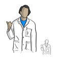 doctor in white gown making a gesture pointing to vector image vector image