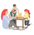 family in evening playing jenga game players vector image