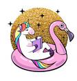 fantasy unicorn on flamingo inflatable circle vector image