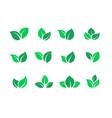 flat leaves set vegan green food logos farm vector image vector image