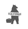 Funny hitchhiking bear with California sign vector image vector image