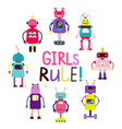 girls rule print with arobots vector image vector image