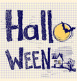 halloween card with text and night moon color vector image