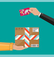 hands with postal cardboard box and bank card vector image vector image