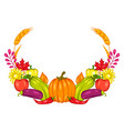 harvest frame with fruits and vegetables vector image vector image