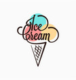 ice cream in the waffle cone logo ice cream cone vector image vector image