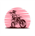 lady motocross pink vector image