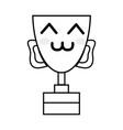 line kawaii cute happy prize cup vector image vector image