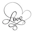 love word on white background hand drawn vector image vector image