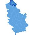 Map of Serbia Subdivision North Banat District vector image vector image