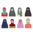 muslim girls avatars islamic fashion for women vector image vector image