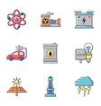 nuclear energy icons set cartoon style vector image vector image