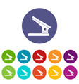office paper hole puncher icons set flat vector image