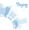 Outline Beijing Skyline with Blue Buildings vector image vector image
