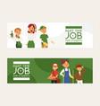part-time job young woman man character at vector image