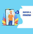 refer a friend character with megaphone sharing vector image vector image