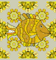repeating geometric tiles with fish seamless vector image