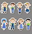 set of farmer girl and boy stickers set of farmer vector image vector image