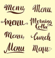 Set of menu lettering vector image vector image