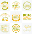 Set of Spring Vintage Typographic Badges Hello vector image vector image