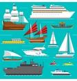 Ship and boats sea symbols vector image vector image