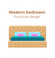 single colorful bed with pillows and blanket vector image
