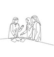 single continuous line drawing young muslim vector image vector image