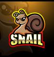 Snail mascot esport logo design