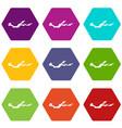 snow icon set color hexahedron vector image vector image
