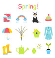 spring icons set flat style gardening cute vector image vector image