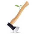 sprout grows from an axe isolated save earth vector image vector image