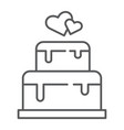stacked cake thin line icon dessert and love vector image vector image